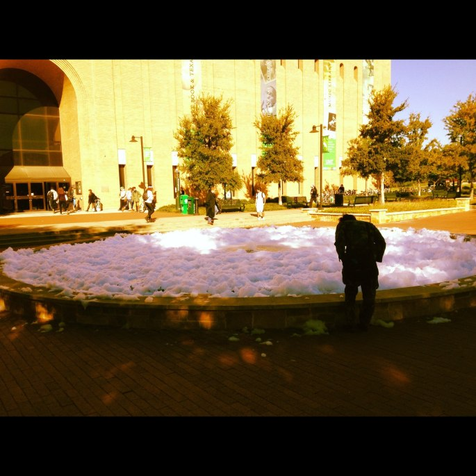 Foamy fountain at uni on Halloween