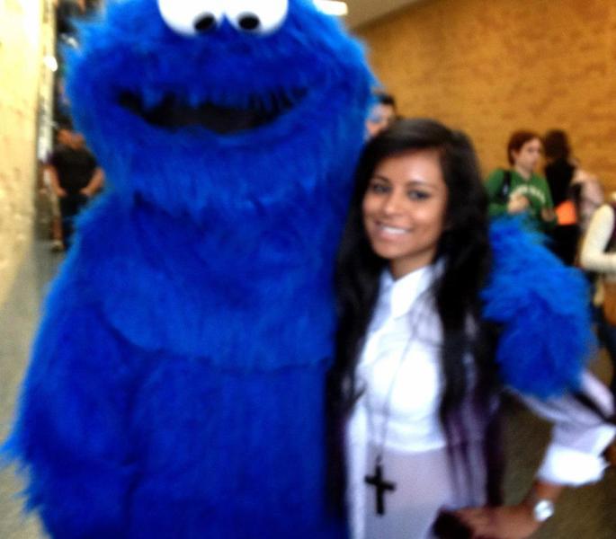 Met cookie monster on campus on Halloween